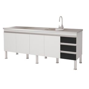 Balcao-Cozinha-4-Portas-3-Gavetas-Ibiza-Mgm-Moveis-80-x-52-x-1935cm-Branco-Preto