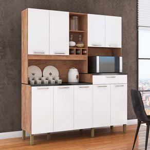 -Kit-Cozinha-9-Portas-1-Gaveta-100--MDF-com-Nicho-Microondas