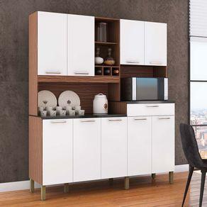 Kit-Cozinha-9-Portas-1-Gaveta-100--MDF-com-Nicho-Microondas-