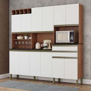 Kit-Cozinha-12-Portas-2-Gavetas-100--MDF-Nicho-Microondas-Ma