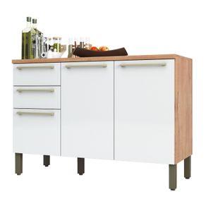 Balcao-de-Cozinha-120cm-3-Portas-2-Gavetas-100--MDF-Napoli-P