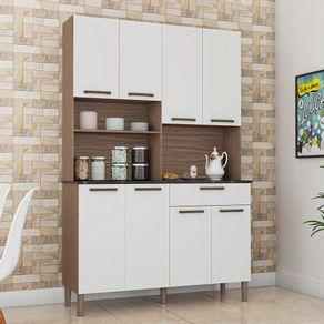 Kit-Cozinha-8-Portas-1-Gaveta-100--MDF-Nicho-Microondas-Tann