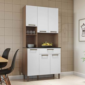 Kit-Cozinha-6-Portas-1-Gaveta-100--MDF-Nicho-Microondas-Tann